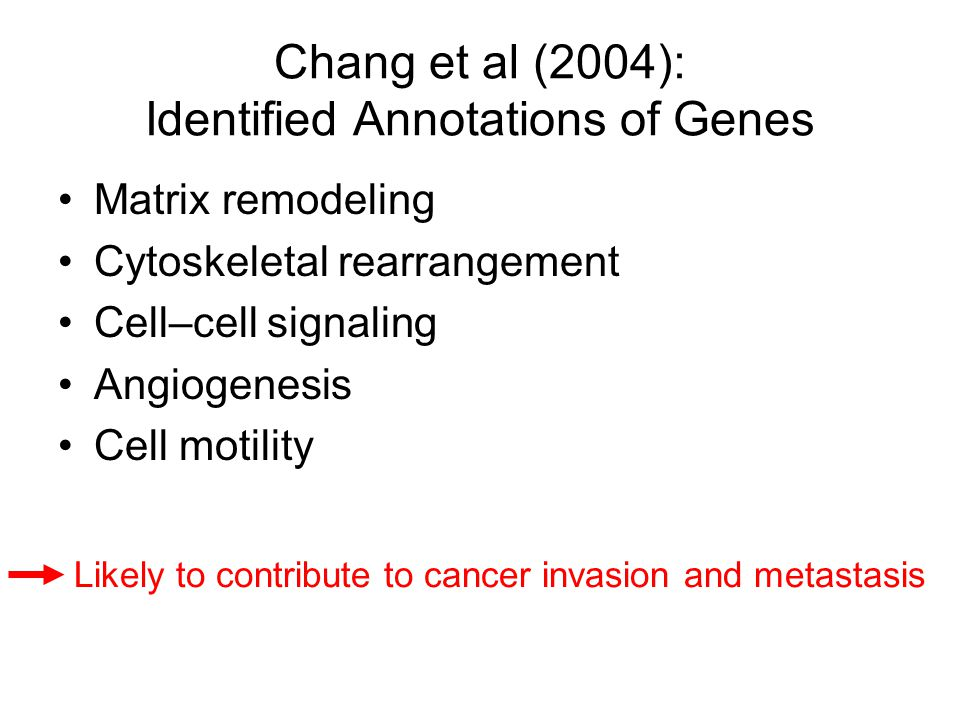Chang et al (2004): Identified Annotations of Genes Matrix remodeling Cytoskeletal rearrangement Cell–cell signaling Angiogenesis Cell motility Likely