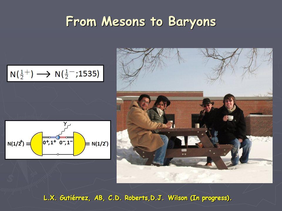 From Mesons to Baryons L.X. Gutiérrez, AB, C.D. Roberts,D.J. Wilson (In progress).