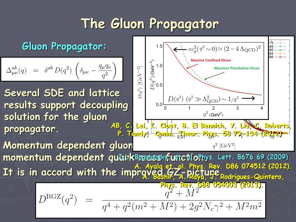 The Gluon Propagator Several SDE and lattice results support decoupling solution for the gluon propagator.