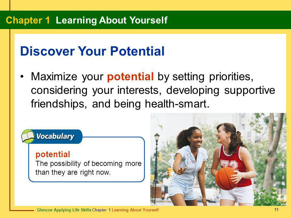 Glencoe Applying Life Skills Chapter 1 Learning About Yourself Chapter 1 Learning About Yourself 11 Maximize your potential by setting priorities, con