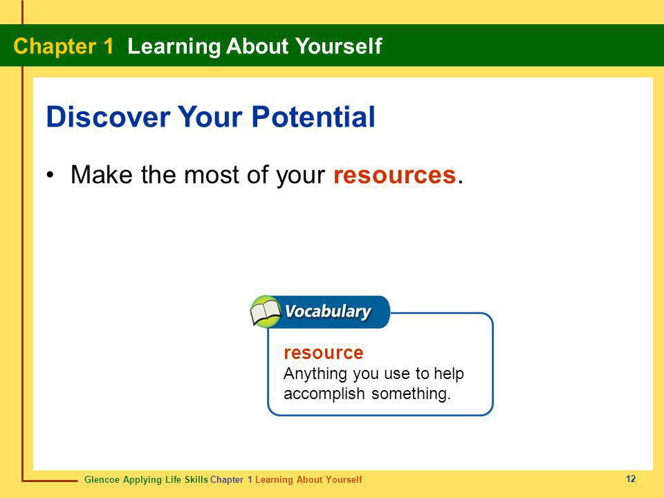 Glencoe Applying Life Skills Chapter 1 Learning About Yourself Chapter 1 Learning About Yourself 12 Make the most of your resources. Discover Your Pot