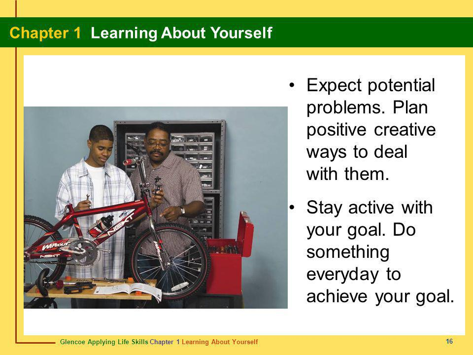 Glencoe Applying Life Skills Chapter 1 Learning About Yourself Chapter 1 Learning About Yourself 16 Expect potential problems. Plan positive creative