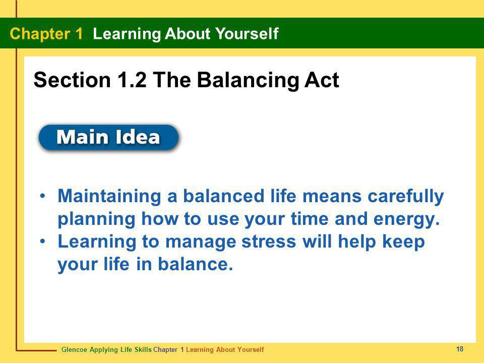 Glencoe Applying Life Skills Chapter 1 Learning About Yourself Chapter 1 Learning About Yourself 18 Maintaining a balanced life means carefully planni