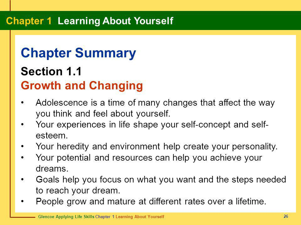 Glencoe Applying Life Skills Chapter 1 Learning About Yourself Chapter 1 Learning About Yourself 26 Chapter Summary Section 1.1 Growth and Changing Ad