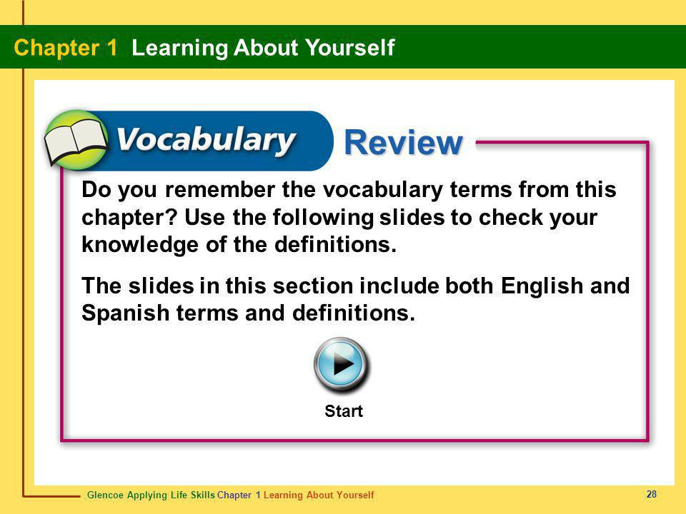 Glencoe Applying Life Skills Chapter 1 Learning About Yourself Chapter 1 Learning About Yourself 28 Review Start Do you remember the vocabulary terms