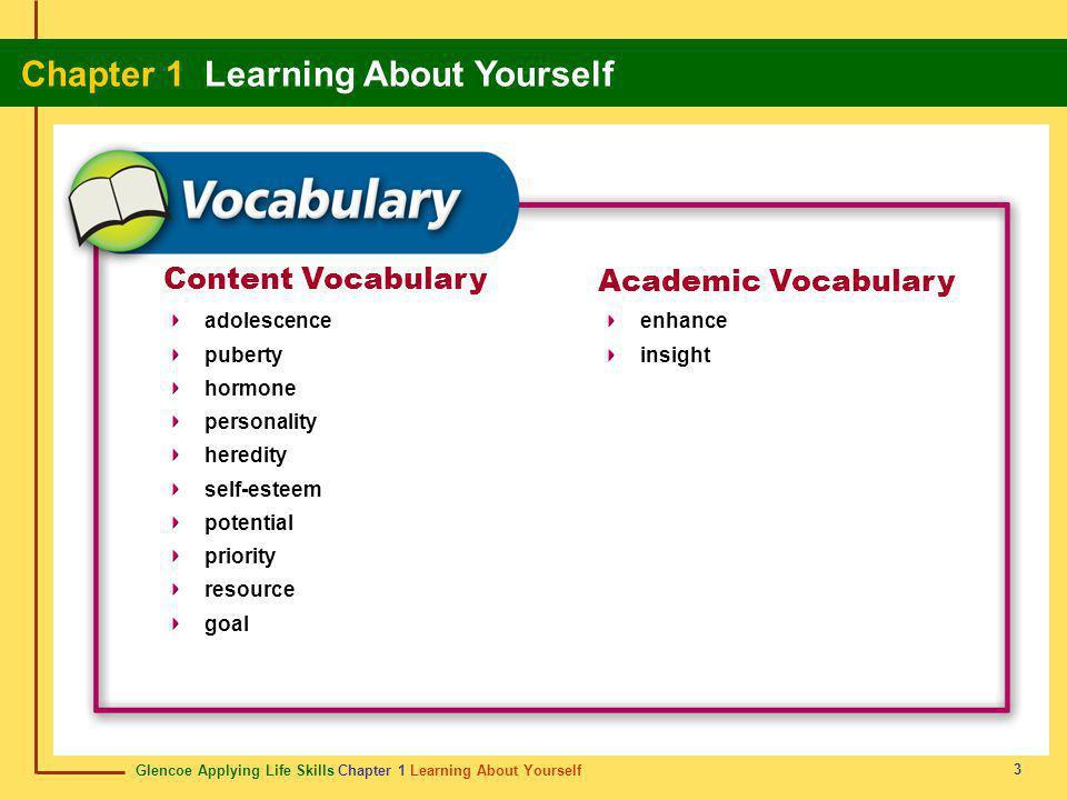 Glencoe Applying Life Skills Chapter 1 Learning About Yourself Chapter 1 Learning About Yourself 3 Content Vocabulary Academic Vocabulary adolescence