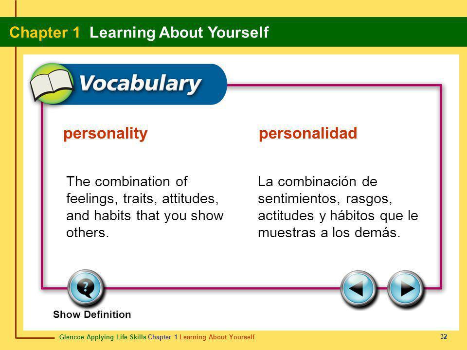 Glencoe Applying Life Skills Chapter 1 Learning About Yourself Chapter 1 Learning About Yourself 32 Show Definition The combination of feelings, trait