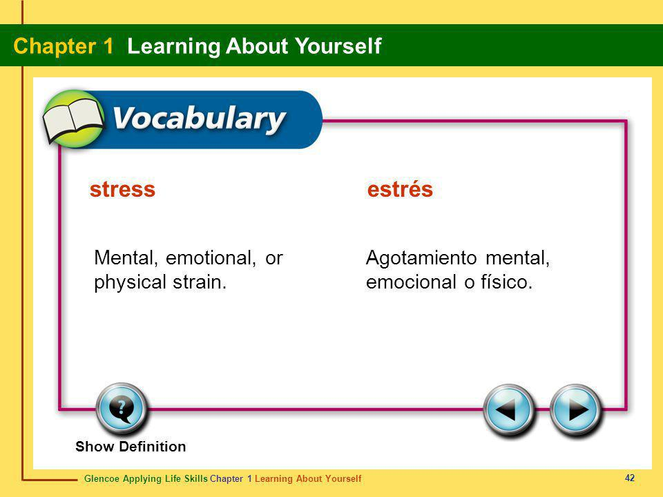 Glencoe Applying Life Skills Chapter 1 Learning About Yourself Chapter 1 Learning About Yourself 42 Show Definition Mental, emotional, or physical str