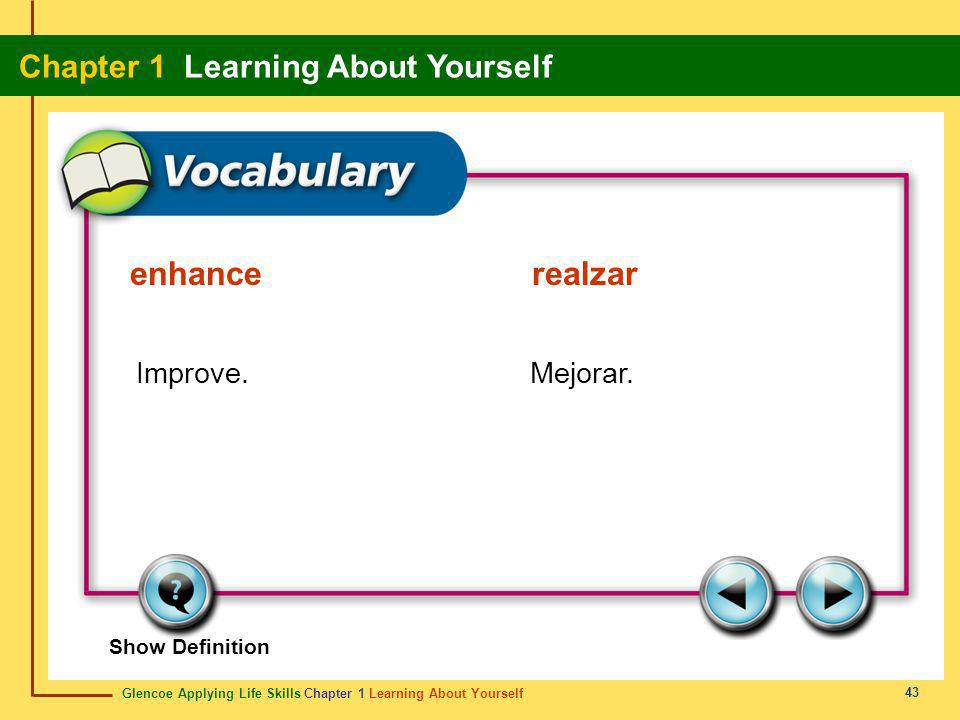 Glencoe Applying Life Skills Chapter 1 Learning About Yourself Chapter 1 Learning About Yourself 43 Show Definition Improve.Mejorar. enhancerealzar