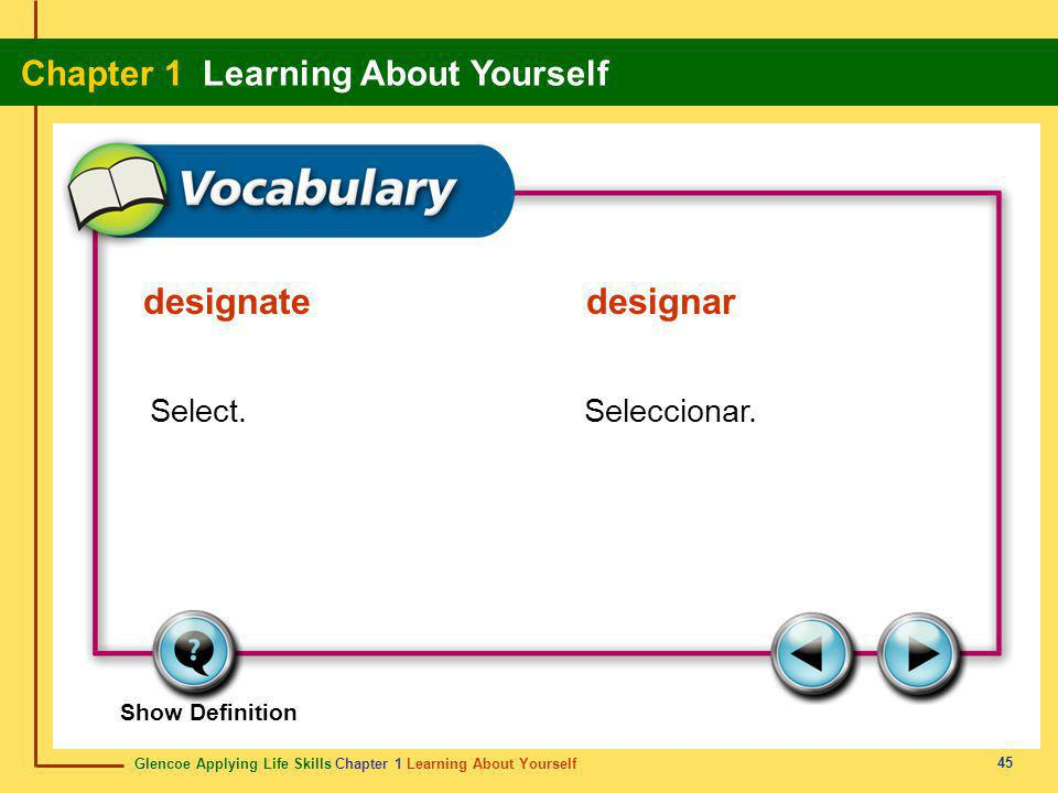 Glencoe Applying Life Skills Chapter 1 Learning About Yourself Chapter 1 Learning About Yourself 45 Show Definition Select.Seleccionar. designatedesig