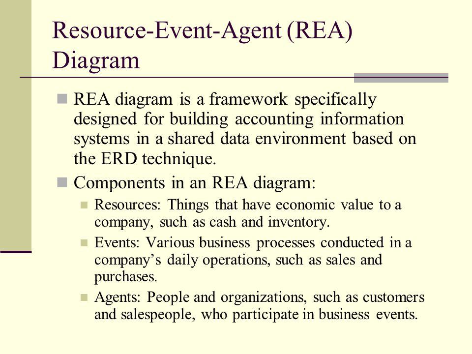 Resource-Event-Agent (REA) Diagram REA diagram is a framework specifically designed for building accounting information systems in a shared data envir