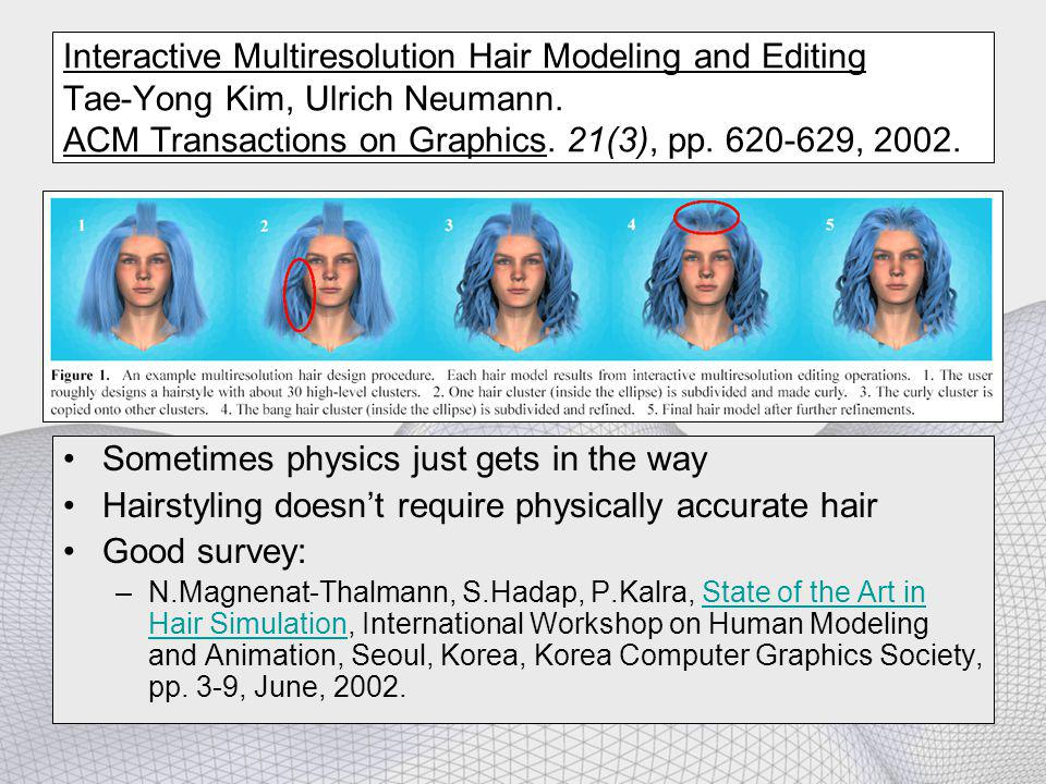 Interactive Multiresolution Hair Modeling and Editing Tae-Yong Kim, Ulrich Neumann. ACM Transactions on Graphics. 21(3), pp. 620-629, 2002. Sometimes