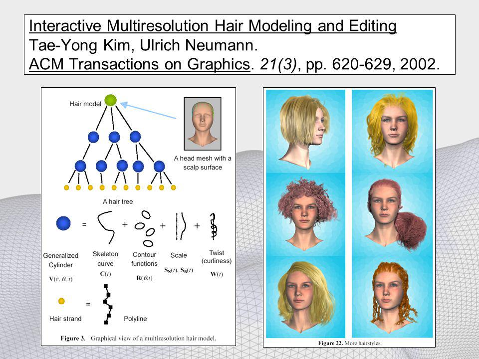 Interactive Multiresolution Hair Modeling and Editing Tae-Yong Kim, Ulrich Neumann. ACM Transactions on Graphics. 21(3), pp. 620-629, 2002.