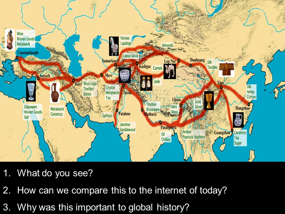 1.What do you see? 2.How can we compare this to the internet of today? 3.Why was this important to global history?