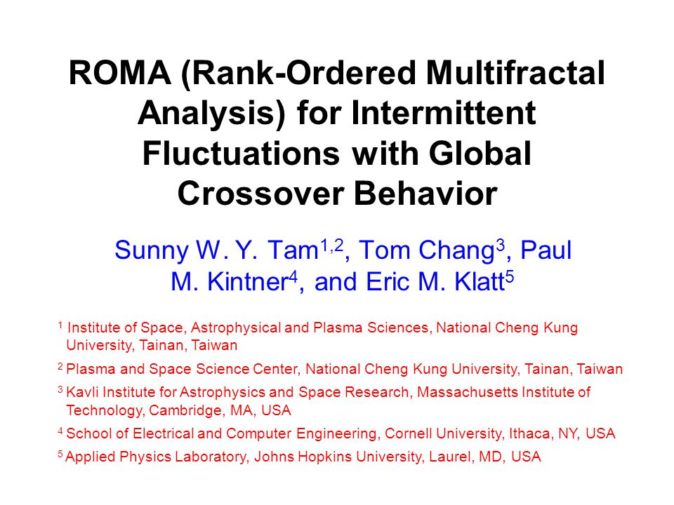 ROMA (Rank-Ordered Multifractal Analysis) for Intermittent Fluctuations with Global Crossover Behavior Sunny W.