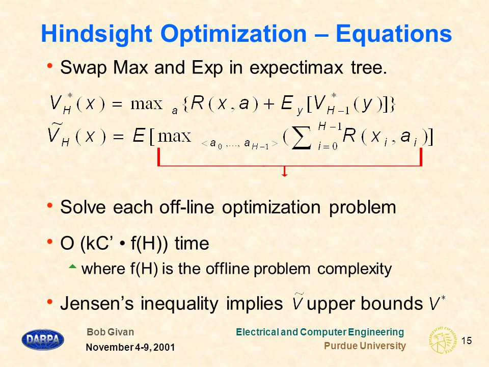 Bob Givan Electrical and Computer Engineering Purdue University 15 November 4-9, 2001 Hindsight Optimization – Equations  Swap Max and Exp in expectimax tree.