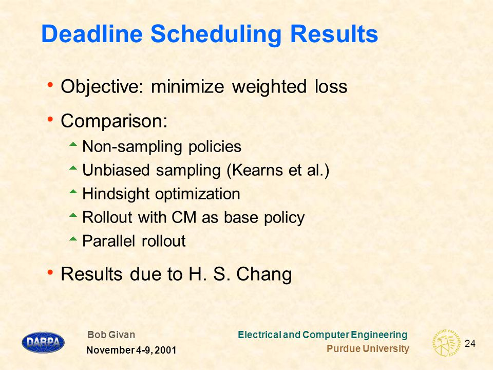Bob Givan Electrical and Computer Engineering Purdue University 24 November 4-9, 2001 Deadline Scheduling Results  Objective: minimize weighted loss  Comparison:  Non-sampling policies  Unbiased sampling (Kearns et al.)  Hindsight optimization  Rollout with CM as base policy  Parallel rollout  Results due to H.