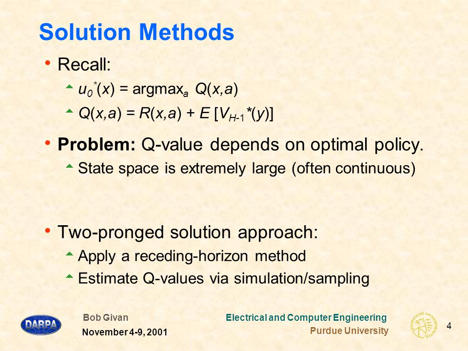 Bob Givan Electrical and Computer Engineering Purdue University 4 November 4-9, 2001 Solution Methods  Recall:  u 0 * (x) = argmax a Q(x,a)  Q(x,a) = R(x,a) + E [V H-1 *(y)]  Problem: Q-value depends on optimal policy.