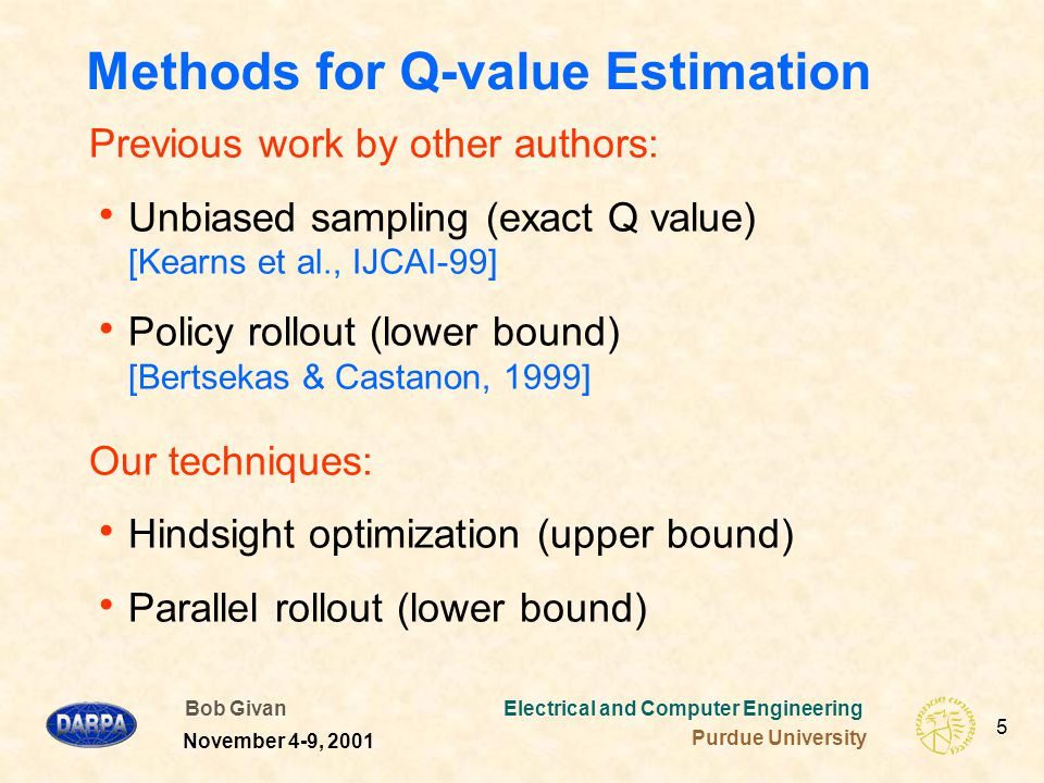 Bob Givan Electrical and Computer Engineering Purdue University 36 November 4-9, 2001 Results Summary  Unbiased sampling cannot cope  Parallel rollout wins in 2 domains  Not always equal to simple rollout of one base policy  Hindsight optimization wins in 1 domain  Simple policy rollout – the cheapest method  Poor in domain 1  Strong in domain 2 with best base policy – but how to find this policy.
