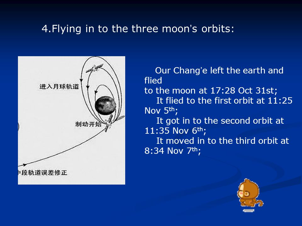 4.Flying in to the three moon ' s orbits: Our Chang ' e left the earth and flied to the moon at 17:28 Oct 31st; It flied to the first orbit at 11:25 Nov 5 th ; It got in to the second orbit at 11:35 Nov 6 th ; It moved in to the third orbit at 8:34 Nov 7 th ;