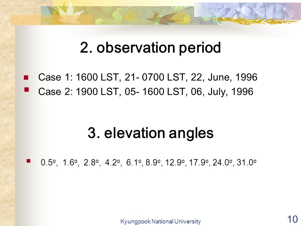 Kyungpook National University 10 Case 1: 1600 LST, 21- 0700 LST, 22, June, 1996  Case 2: 1900 LST, 05- 1600 LST, 06, July, 1996 2.