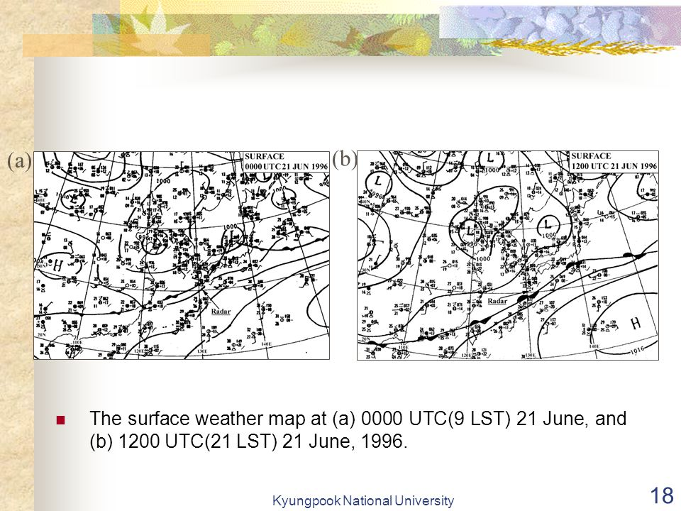 Kyungpook National University 18 The surface weather map at (a) 0000 UTC(9 LST) 21 June, and (b) 1200 UTC(21 LST) 21 June, 1996.