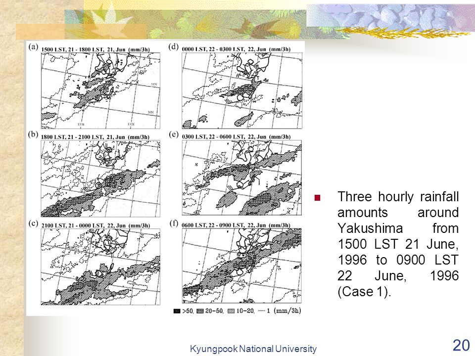 Kyungpook National University 20 Three hourly rainfall amounts around Yakushima from 1500 LST 21 June, 1996 to 0900 LST 22 June, 1996 (Case 1).