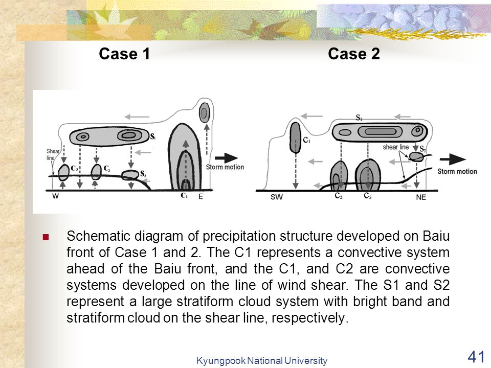 Kyungpook National University 41 Schematic diagram of precipitation structure developed on Baiu front of Case 1 and 2.