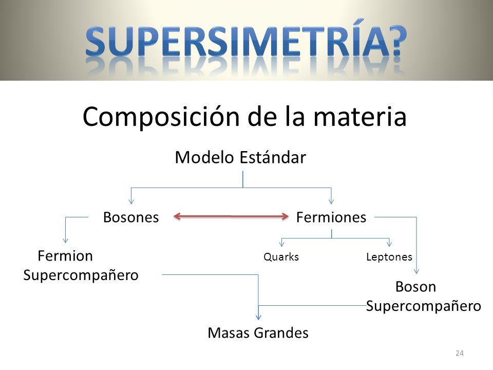 Composición de la materia BosonesFermiones QuarksLeptones Modelo Estándar Supercompañero Boson Fermion Masas Grandes 24