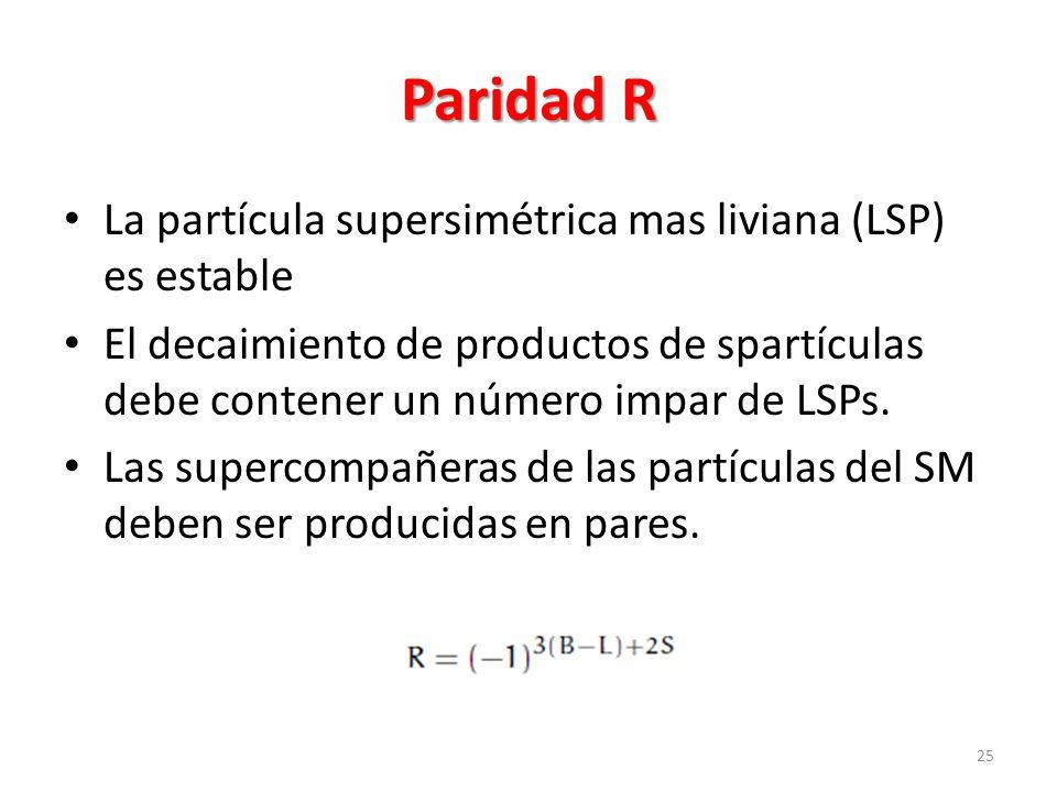 Paridad R La partícula supersimétrica mas liviana (LSP) es estable El decaimiento de productos de spartículas debe contener un número impar de LSPs.