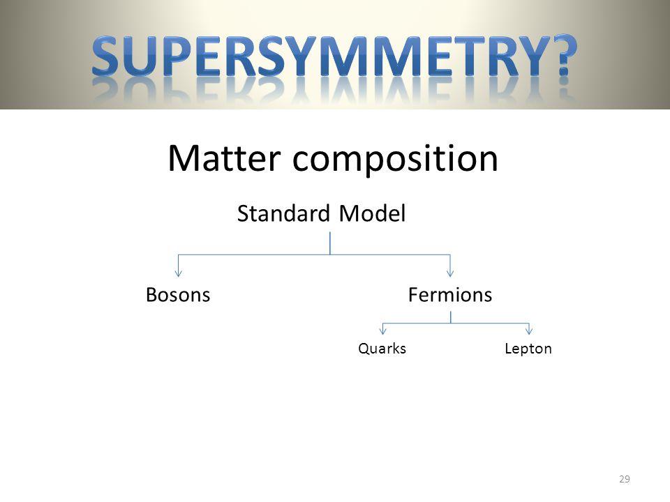 Matter composition BosonsFermions QuarksLepton Standard Model 29