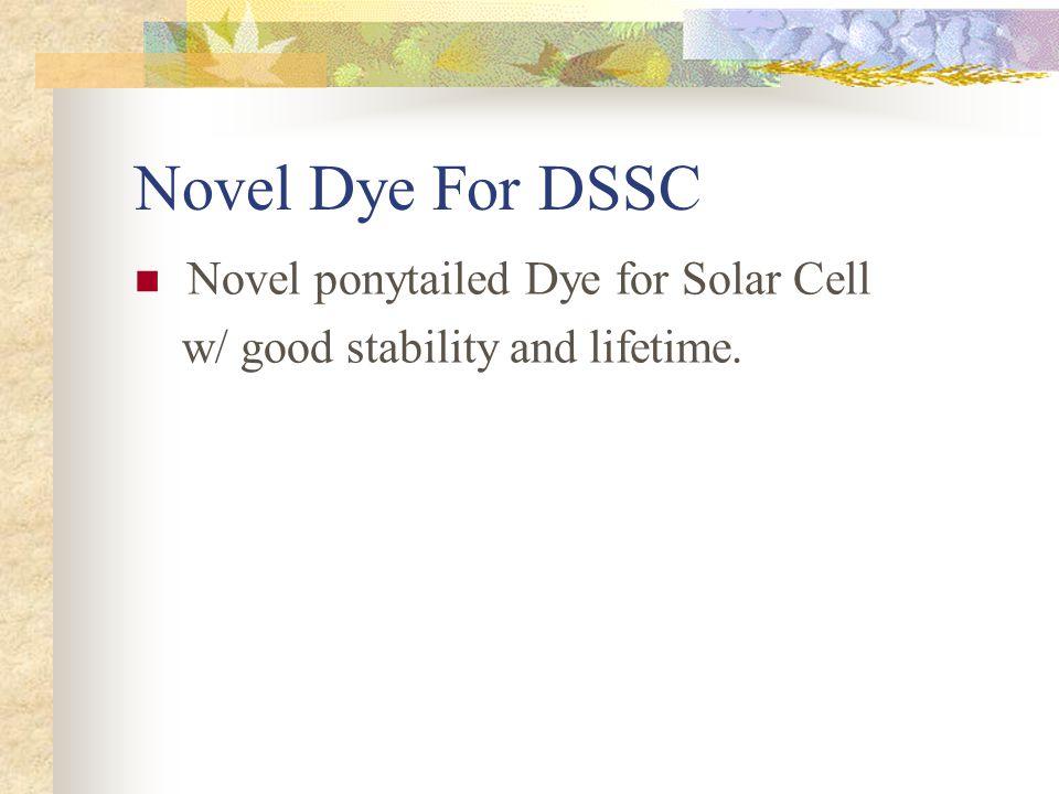 Novel Dye For DSSC Novel ponytailed Dye for Solar Cell w/ good stability and lifetime.
