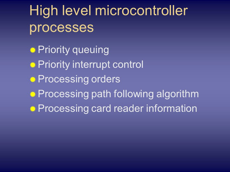 High level microcontroller processes  Priority queuing  Priority interrupt control  Processing orders  Processing path following algorithm  Processing card reader information