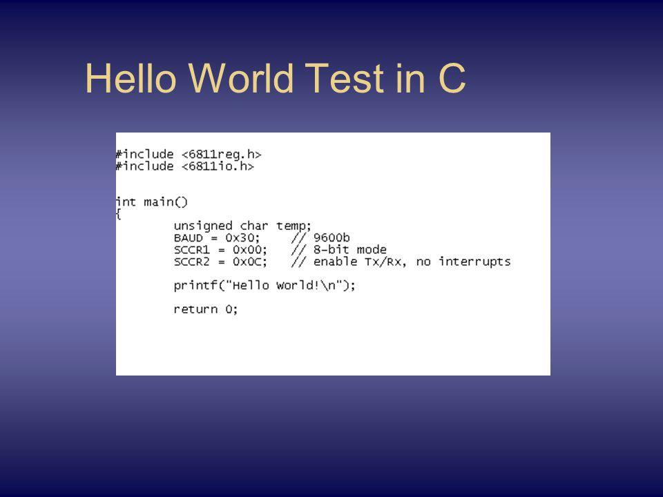 Hello World Test in C