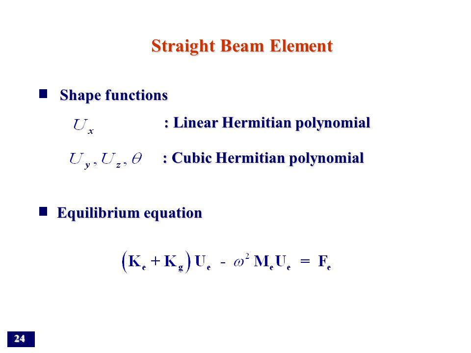 23 Exact dynamic stiffness matrix where, Nodal force vector where,