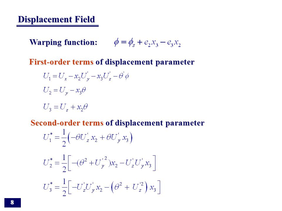 Displacement Field of Nonsymmetric Thin-walled beam 7 Notation for displacement parameters and stress resultants (a) Displacement parameters (a) Displ
