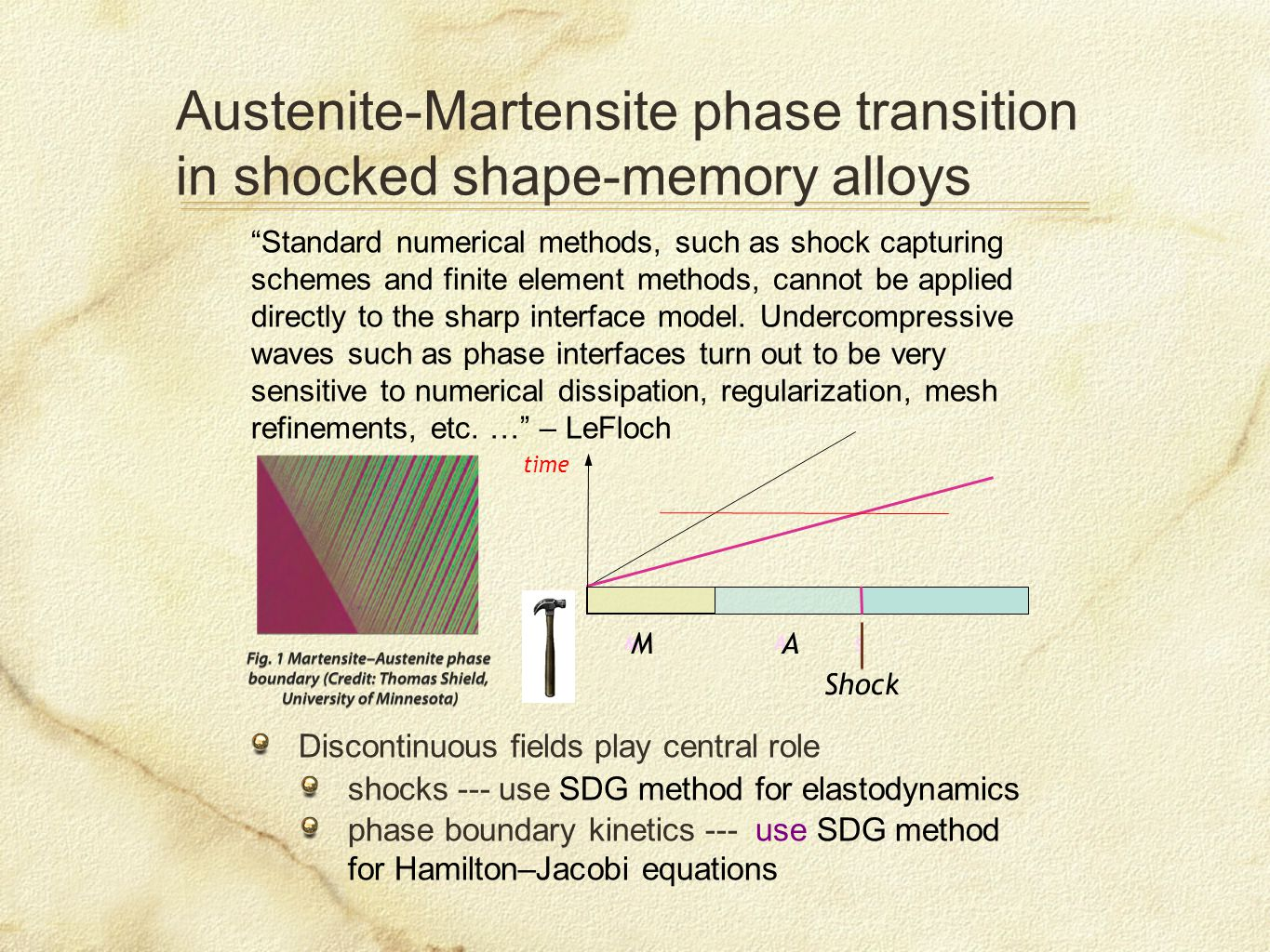 Austenite-Martensite phase transition in shocked shape-memory alloys Discontinuous fields play central role shocks --- use SDG method for elastodynamics phase boundary kinetics --- use SDG method for Hamilton–Jacobi equations Standard numerical methods, such as shock capturing schemes and finite element methods, cannot be applied directly to the sharp interface model.