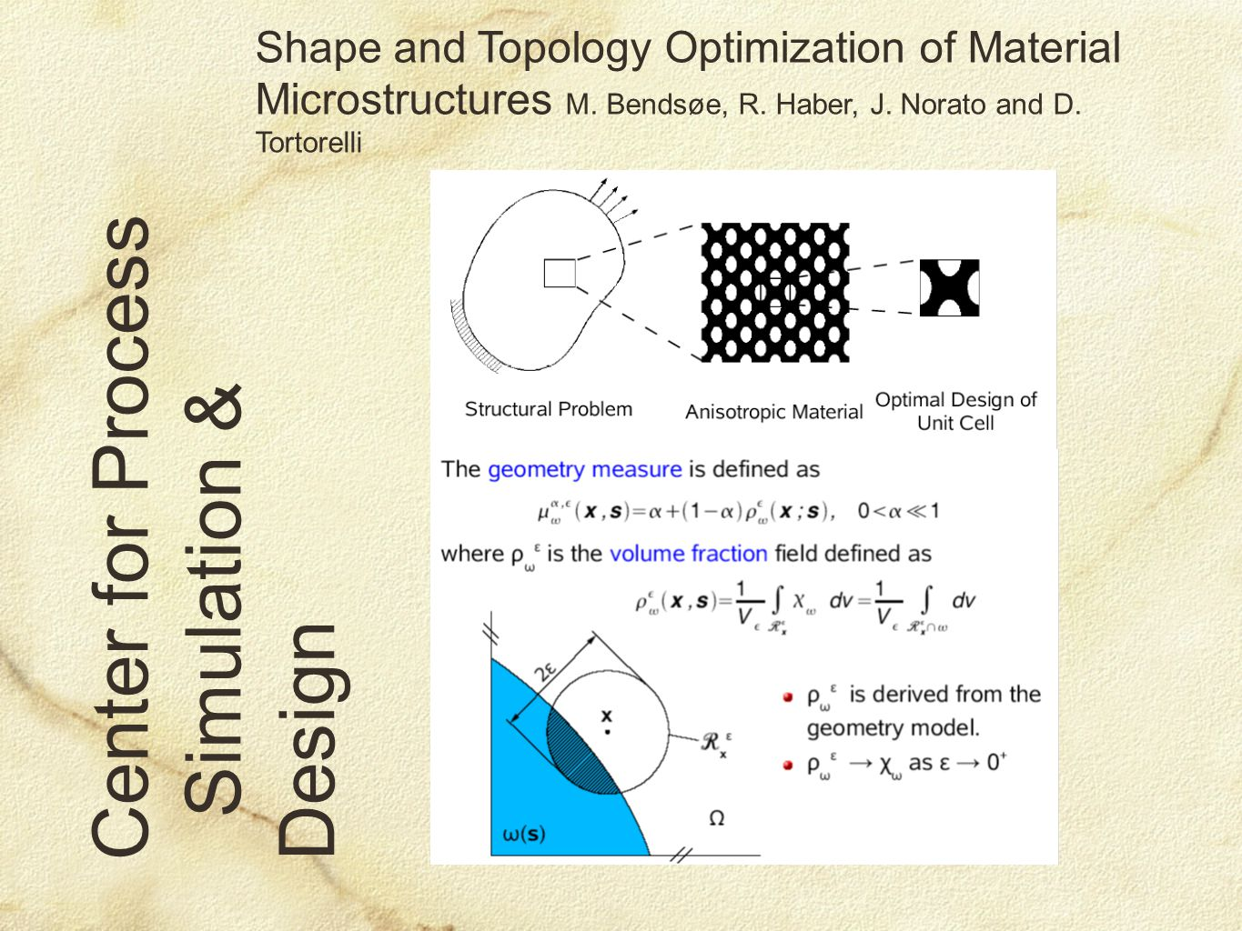Center for Process Simulation & Design Shape and Topology Optimization of Material Microstructures M.