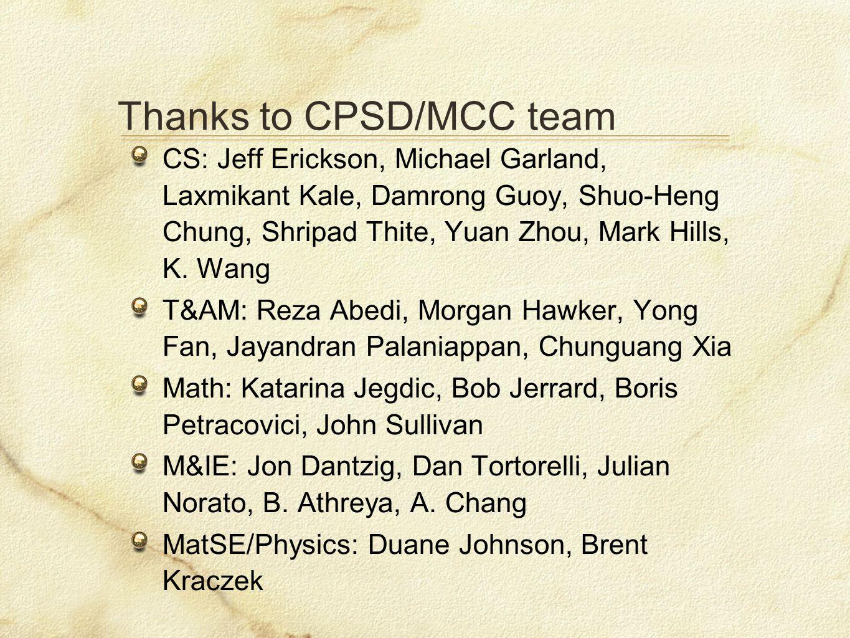 Thanks to CPSD/MCC team CS: Jeff Erickson, Michael Garland, Laxmikant Kale, Damrong Guoy, Shuo-Heng Chung, Shripad Thite, Yuan Zhou, Mark Hills, K.