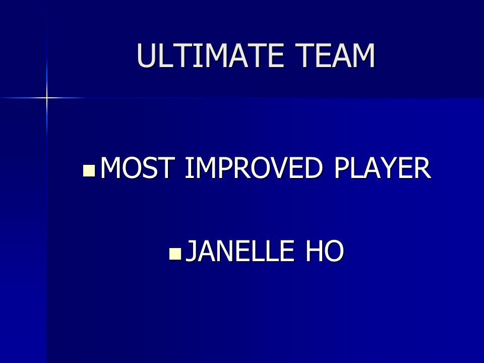 ULTIMATE TEAM MOST IMPROVED PLAYER MOST IMPROVED PLAYER JANELLE HO JANELLE HO