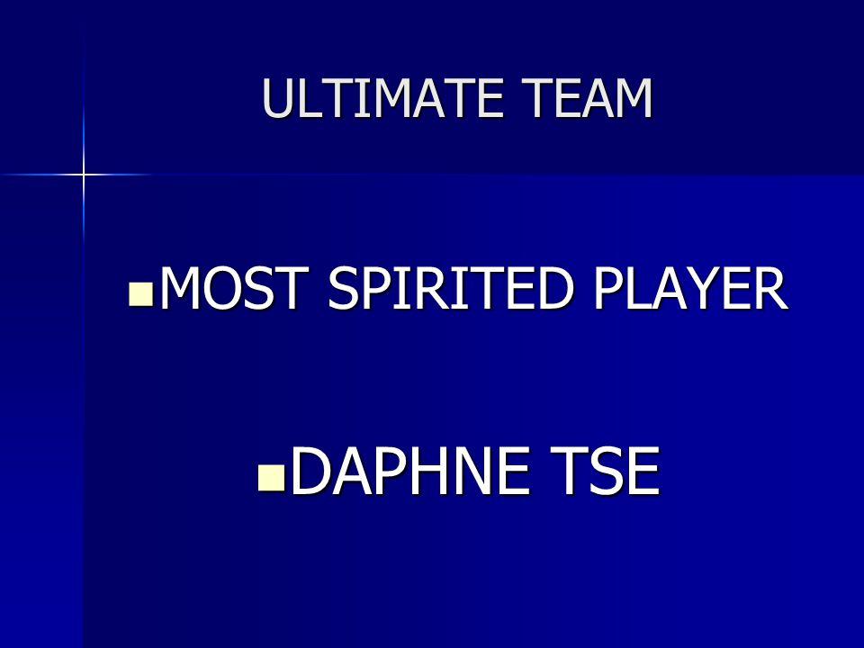 ULTIMATE TEAM MOST SPIRITED PLAYER MOST SPIRITED PLAYER DAPHNE TSE DAPHNE TSE