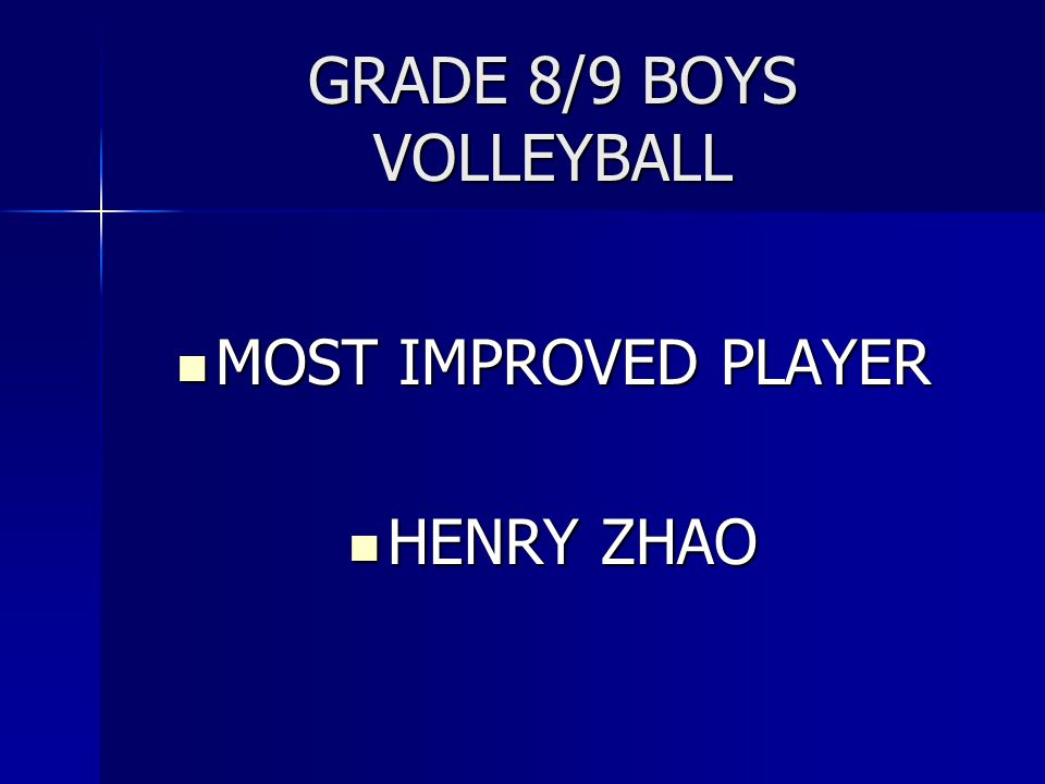 GRADE 8/9 BOYS VOLLEYBALL MOST IMPROVED PLAYER MOST IMPROVED PLAYER HENRY ZHAO HENRY ZHAO