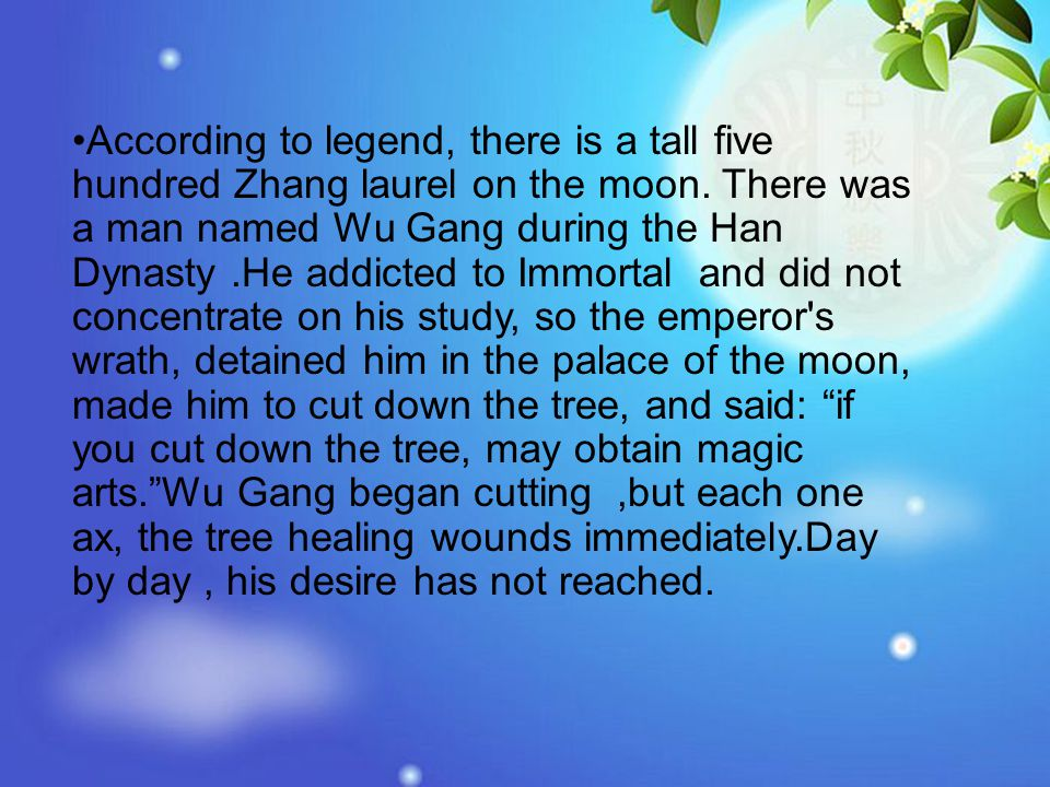 According to legend, there is a tall five hundred Zhang laurel on the moon.