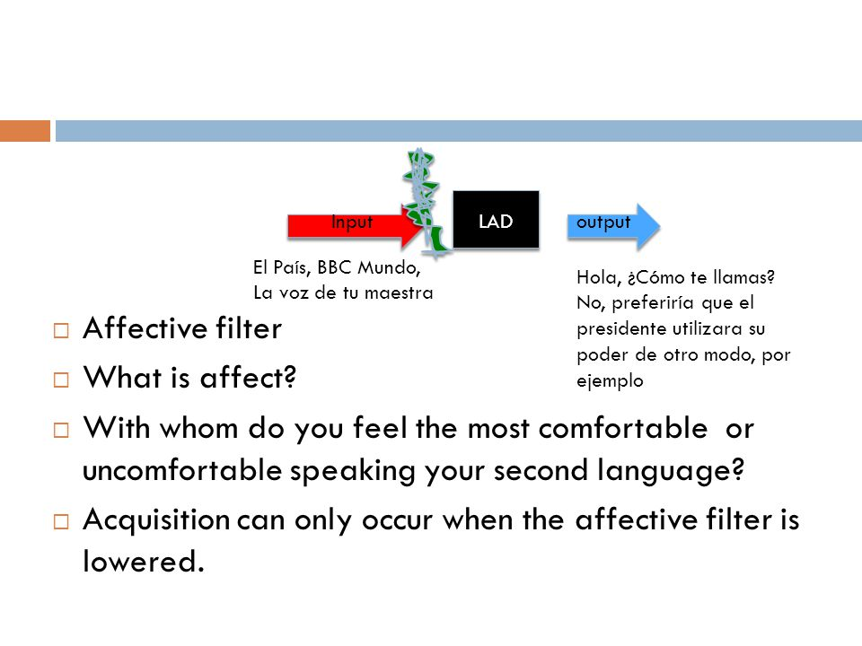 Affective filter  What is affect?  With whom do you feel the most comfortable or uncomfortable speaking your second language?  Acquisition can on
