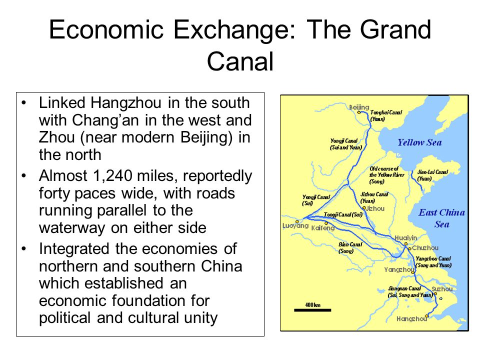 Economic Exchange: The Grand Canal Linked Hangzhou in the south with Chang'an in the west and Zhou (near modern Beijing) in the north Almost 1,240 miles, reportedly forty paces wide, with roads running parallel to the waterway on either side Integrated the economies of northern and southern China which established an economic foundation for political and cultural unity