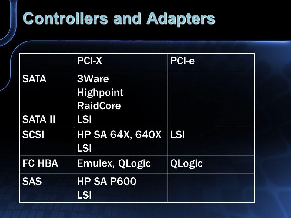 Controllers and Adapters PCI-XPCI-e SATA SATA II 3Ware Highpoint RaidCore LSI SCSIHP SA 64X, 640X LSI FC HBAEmulex, QLogicQLogic SASHP SA P600 LSI
