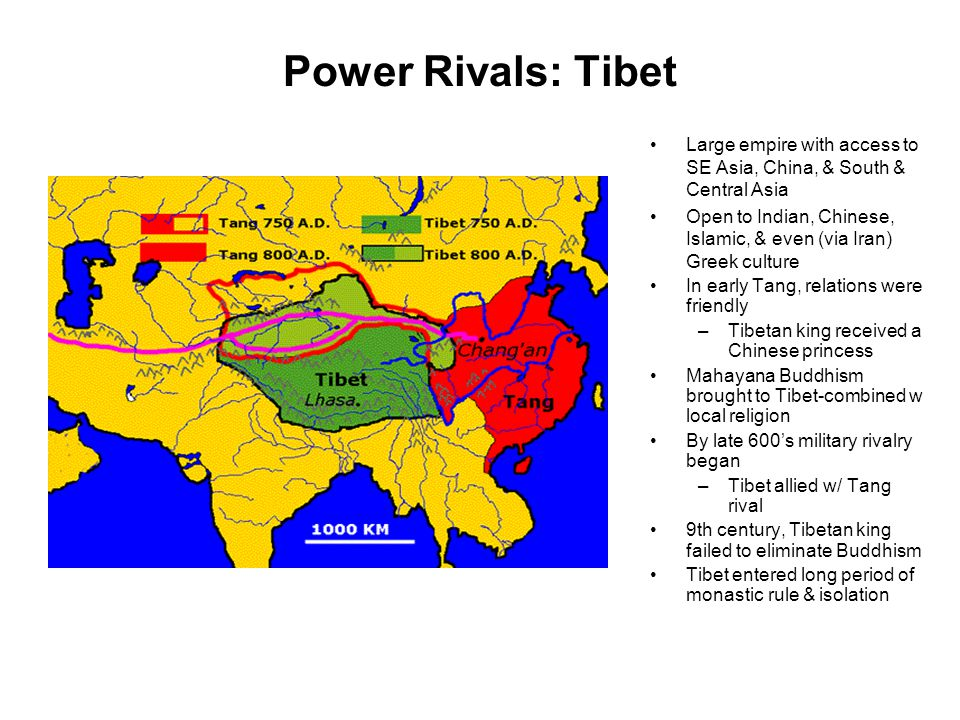 Power Rivals: Tibet Large empire with access to SE Asia, China, & South & Central Asia Open to Indian, Chinese, Islamic, & even (via Iran) Greek cultu