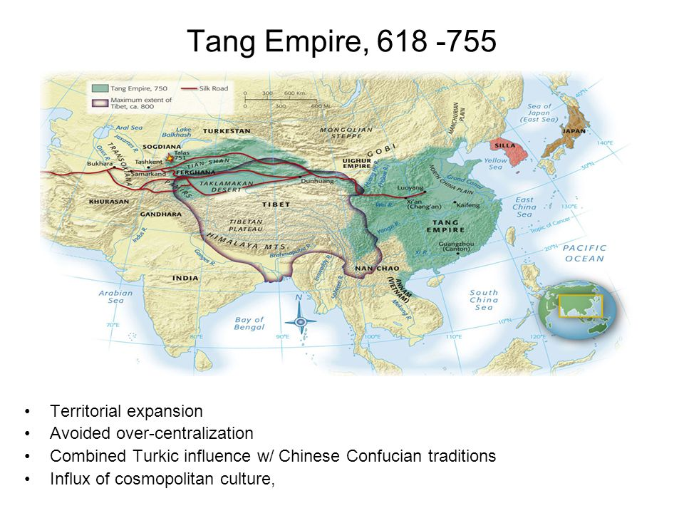 Tang Empire, 618 -755 Territorial expansion Avoided over-centralization Combined Turkic influence w/ Chinese Confucian traditions Influx of cosmopolit
