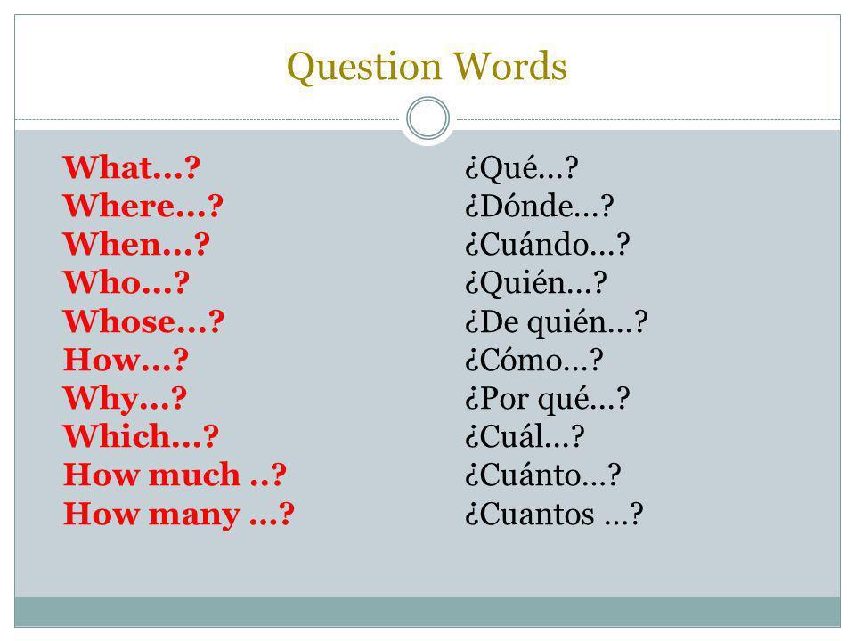 Question Words What...?¿Qué...? Where...?¿Dónde...? When...?¿Cuándo...? Who...?¿Quién...? Whose...? ¿De quién...? How...? ¿Cómo...? Why...?¿Por qué...