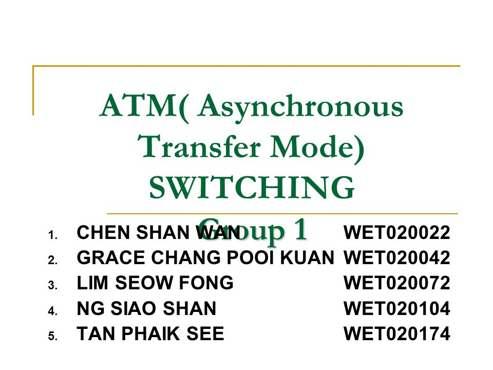 Queuing Methods: Problems Many queuing problems in an ATM switch because:  The pre-assigned time slot concept disappears in ATM switching systems  ATM switch performs statistical multiplexing in the switch inputs  de-multiplexing in the switch outputs For example:  Two ATM cells arrived at two inlets at the same time and are aiming for the same outlet